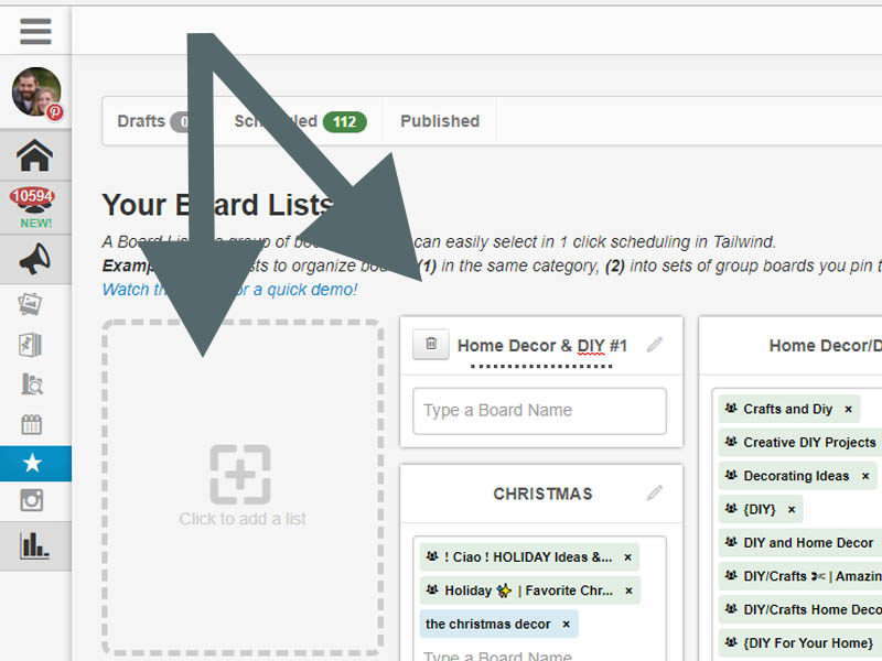Tailwind board lists for scheduling Pinterest pins easily