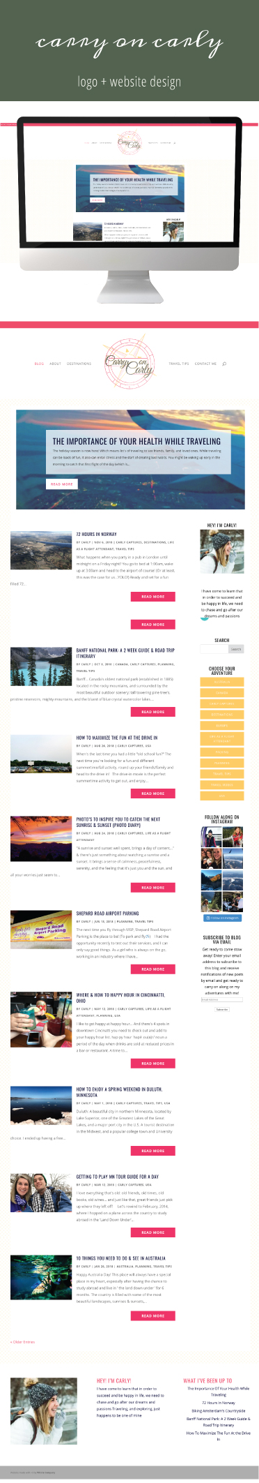 Carry on Carly | Website Design