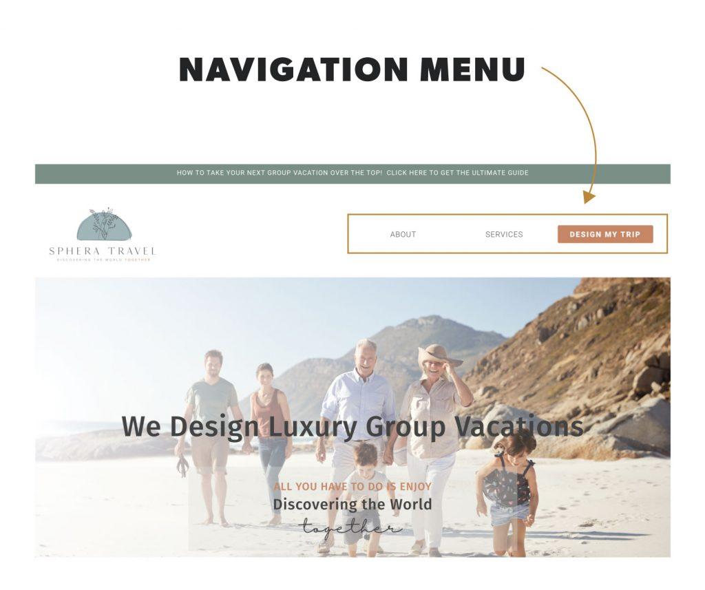 navigation menu in website design terminology