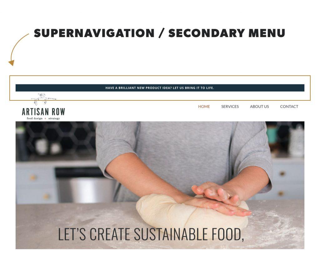 supernavigation menu in website design terminology