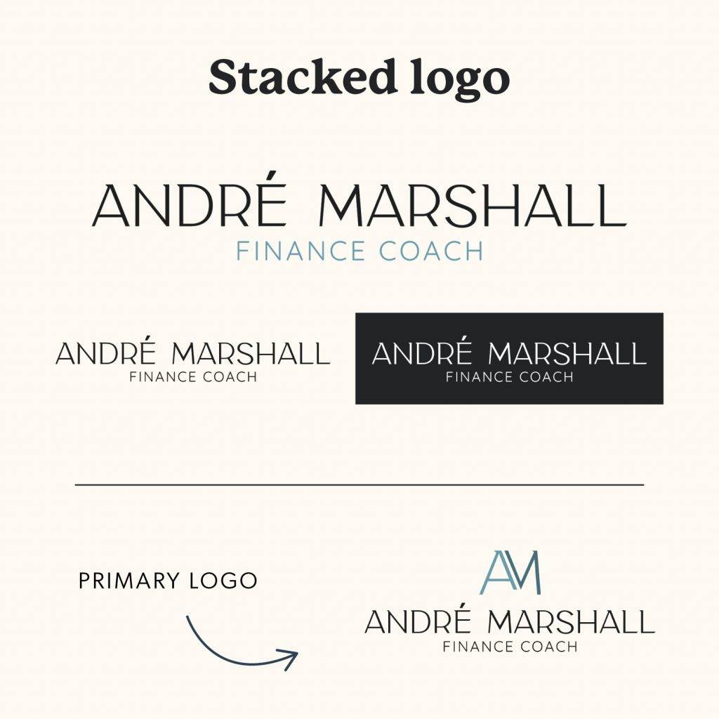 Stacked logo variation for Andre Marshall Finance Coach