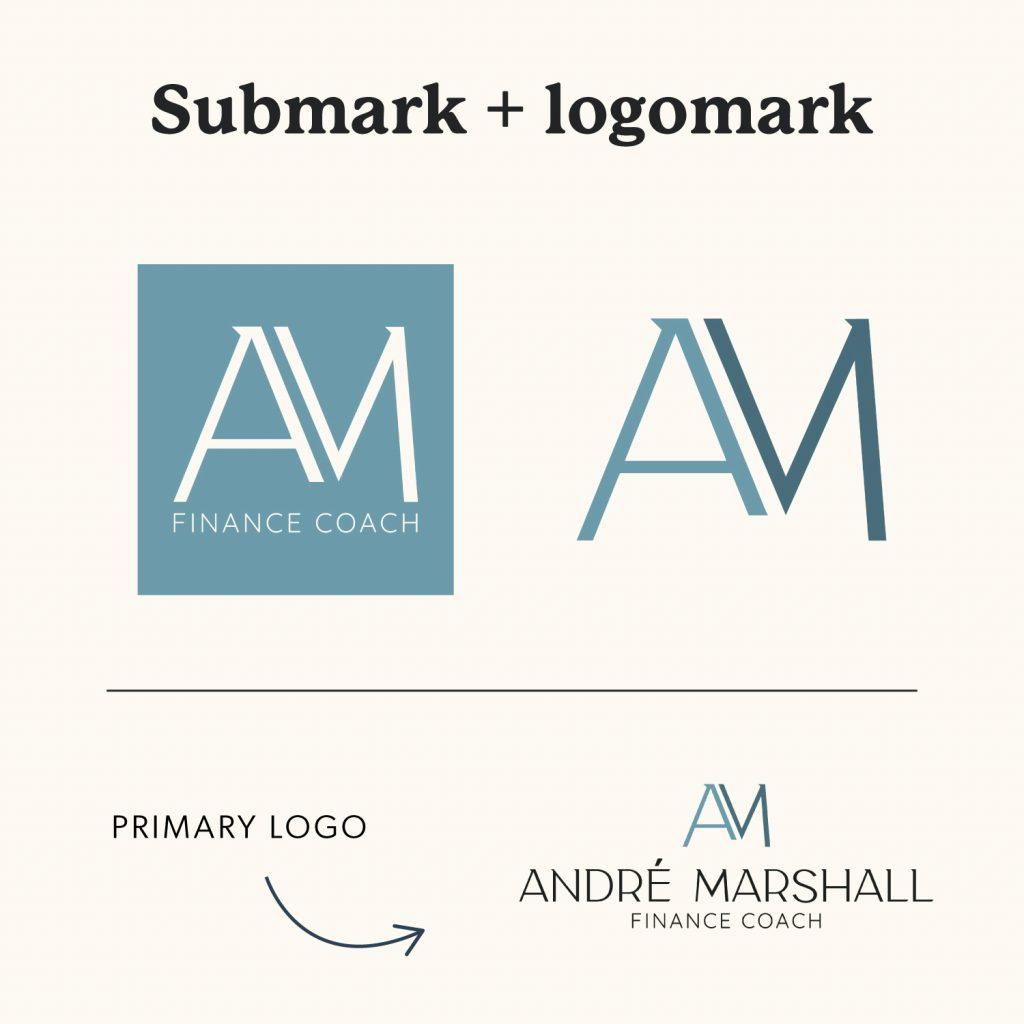 Submark and Logomark Logo Variation for Andre Marshall Finance Coach