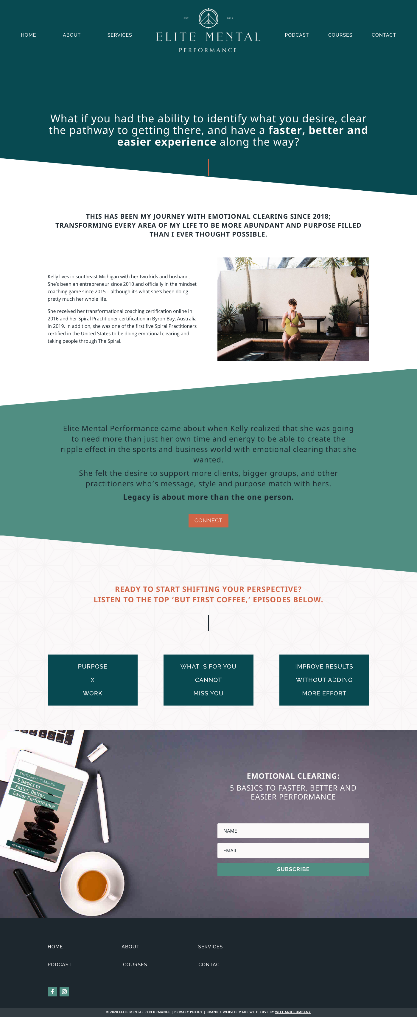 Elite Mental Performance Website About Page with Divi Theme | Witt and Company