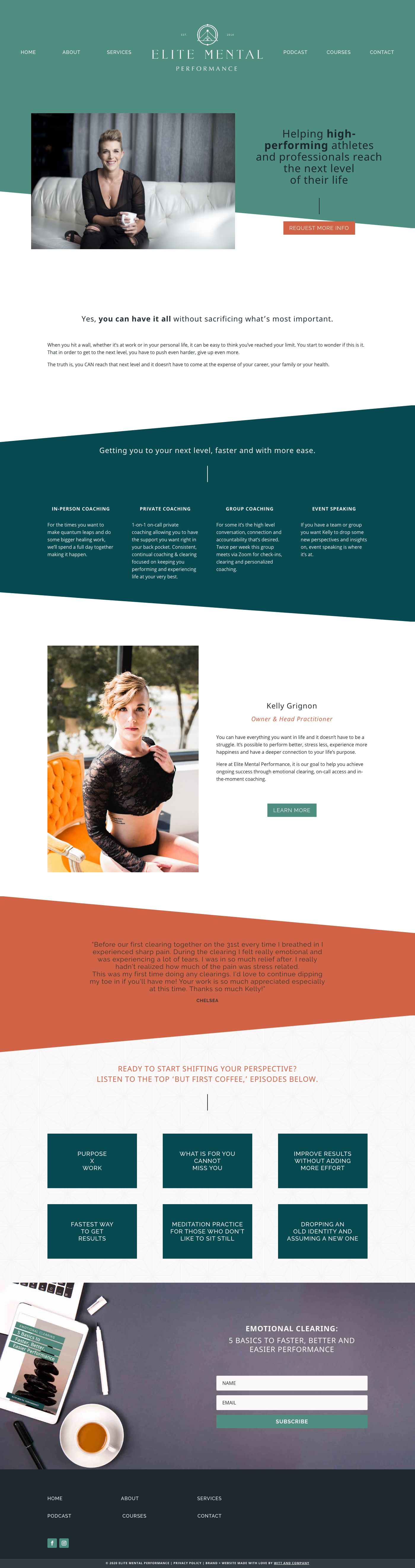 Elite Mental Performance Website Home Page with Divi Theme | Witt and Company
