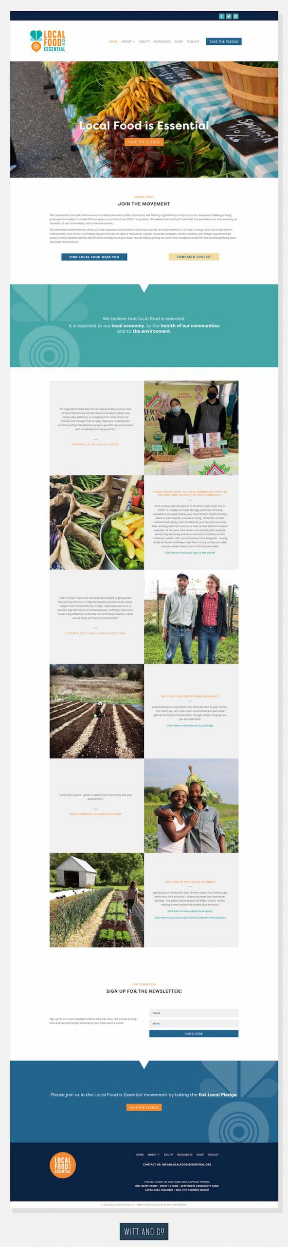 Local Food is Essential Home Page Web Design | Witt and Company