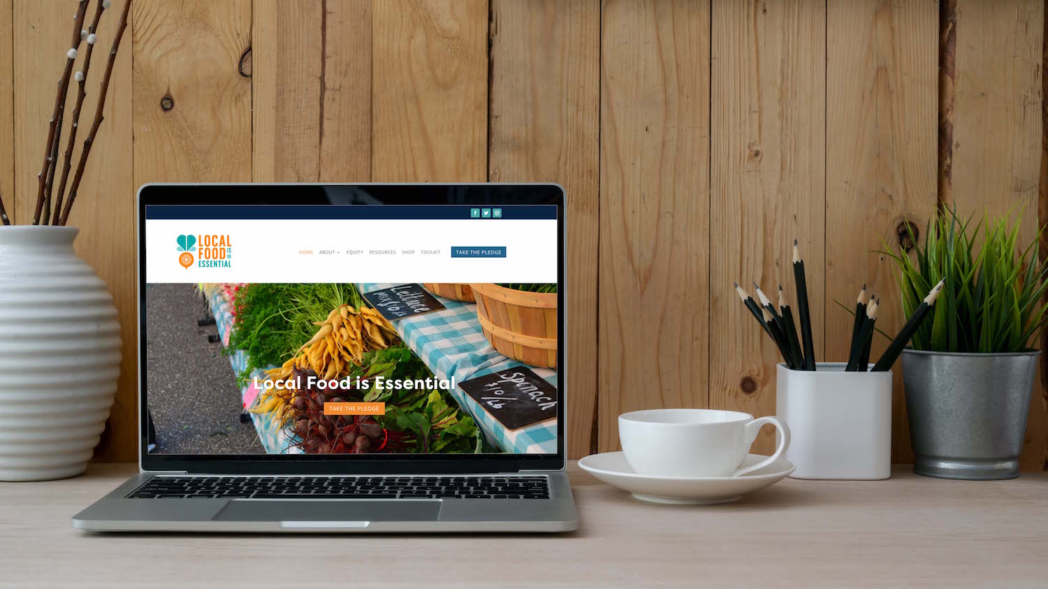 Local Food is Essential Website Mockup | Witt and Company