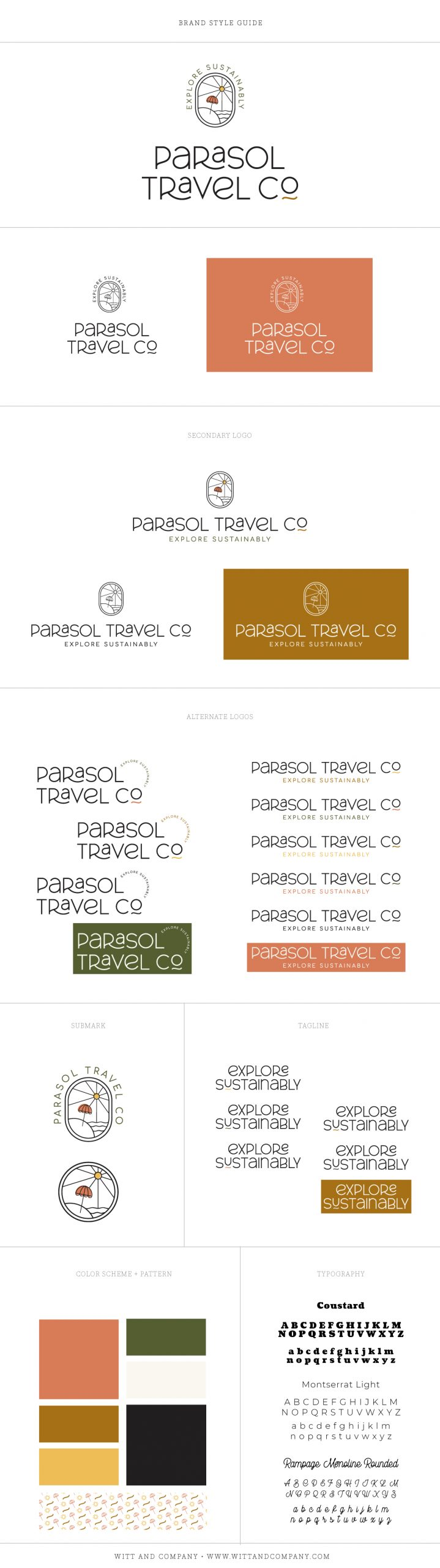Parasol Travel Co Travel Agency Style Guide and Logo Design
