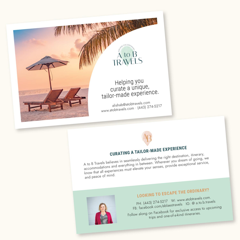 A to B Travels postcard design